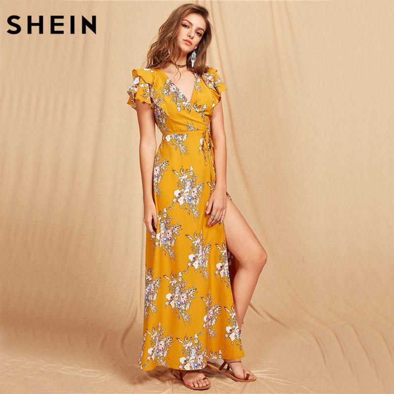 SHEIN Women Flutter Sleeve Crisscross Back Surplice Wrap Botanical Dress Summer Yellow V Neck Cap Sleeve Maxi Dress