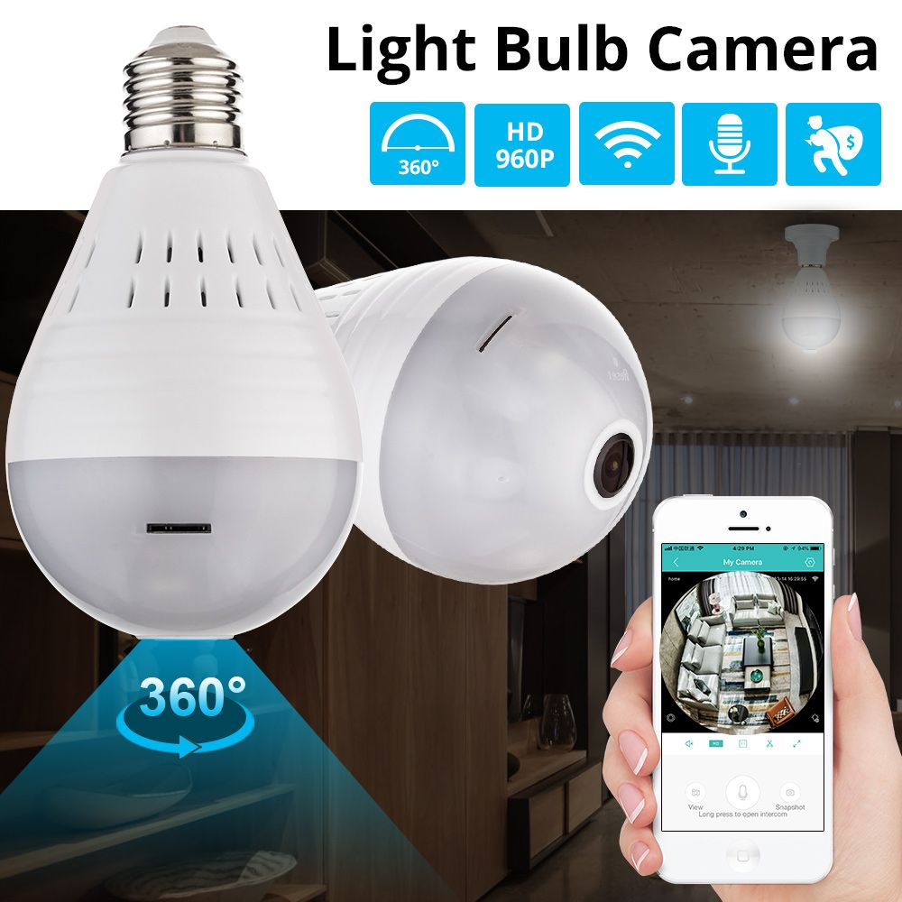 KERUI LED Light 960P Wireless Panoramic Home Security WiFi CCTV Fisheye Bulb Lamp IP Camera 360 Degree Night Vision