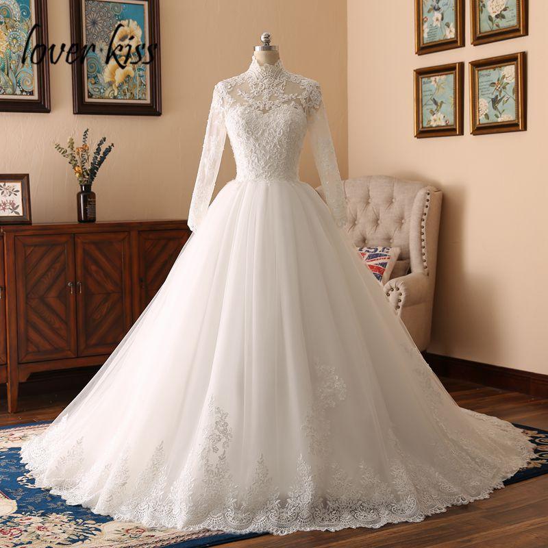 Lover Kiss 2017 Elegant High Neck Long Sleeve Lace Muslim Wedding Dress For Bride Islamic Gowns Weddings Women Vestido De Noiva
