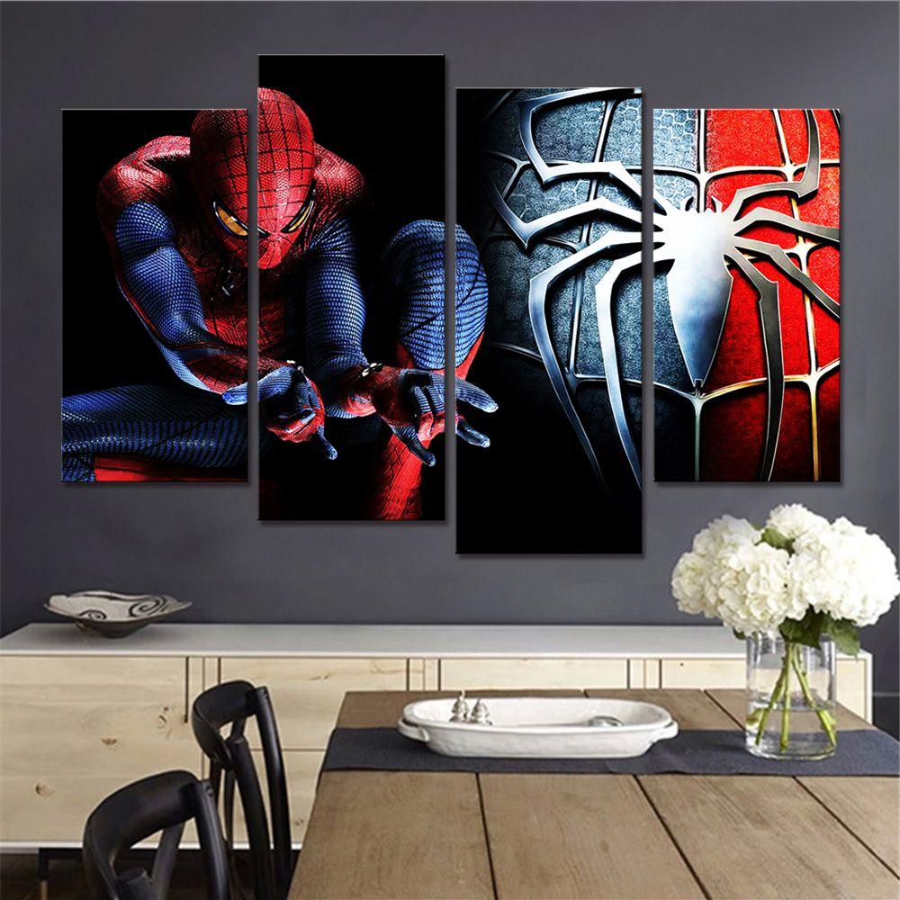 Pas d'encadré livraison gratuite Spiderman décor mural salon photos dessin animé toile Art peinture 4 pièces affiches et impressions nordique