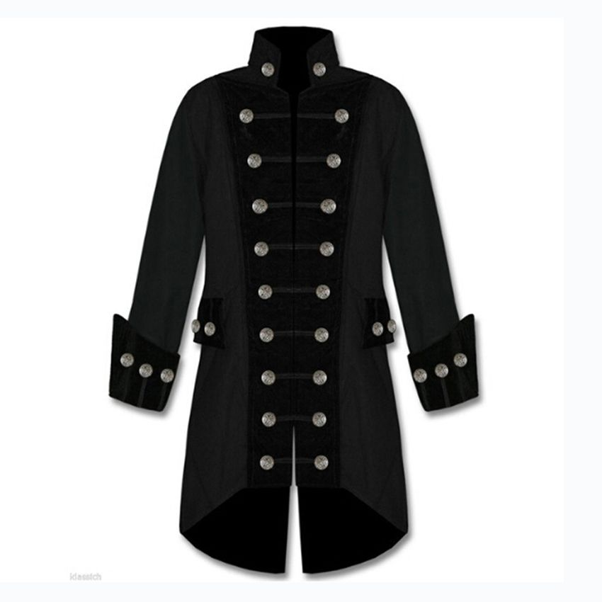 Cosplay Medieval Mens Retro Punk Jacket Costume Victorian Renaissance Gothic Pirates Steampunk Coat Costume Male Retro Clothing