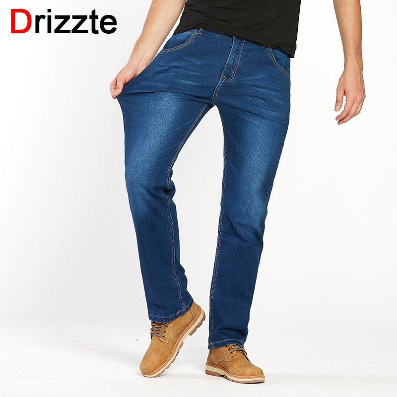 Drizzte мужчин джинсы хлопок джинсовые жан мужские прямые брюки со свободной посадкой джинсы большие и высокие брюки Большой размер от 36 до раз...