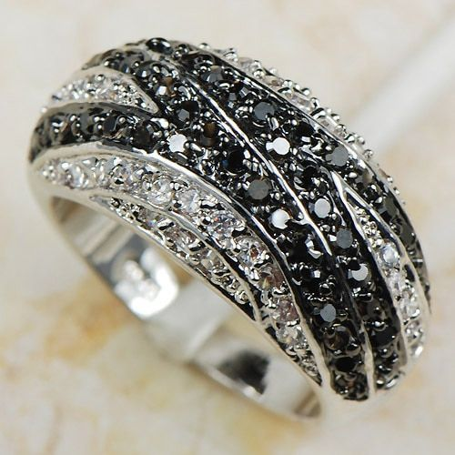 White Black Crystal Zircon Women 925 Sterling Silver Ring R593 Size 6 7 8 9 10 11 12