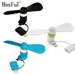 BinFul 100% testé Mini 2 en 1 Portable Micro USB Ventilateur Pour iPhone 5 6 main Ventilateur pour Samsung HTC Android OTG Smartphones USB Gadget