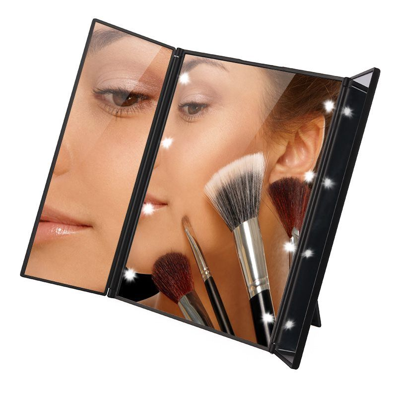 Tri-Fold Illuminated LED Lighted Vanity Mirror Makeup <font><b>Wide</b></font> View Portable Travel Pocket Compact Led Mirror P30 Christmas Gifts