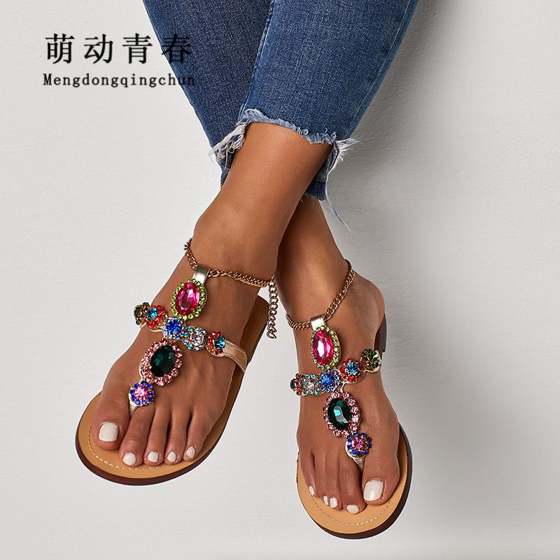 Plus Size 35-47 Women Sandals Crystal Colorful Rhinestones Chains Thong Flat Heel Sandals Flip Flops Beach Sandals Zapatos Mujer