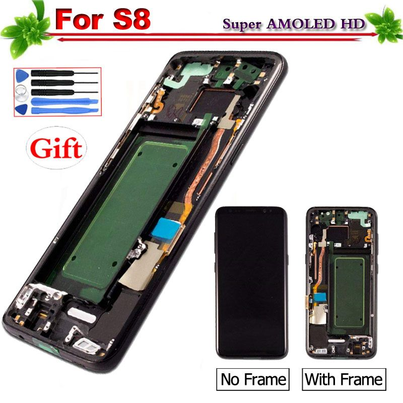 5,8 Super Amoled für Samsung Galaxy S8 G950 G950F LCD Display Touchscreen Digitizer für Galaxy S8 Mit Rahmen 2560x1440