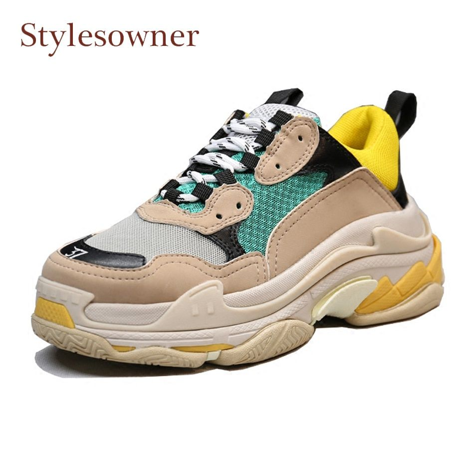 Stylesowner spring new women sneakers mixed color thick bottom flat travel shoes lace up breatherable casual shoes flats females