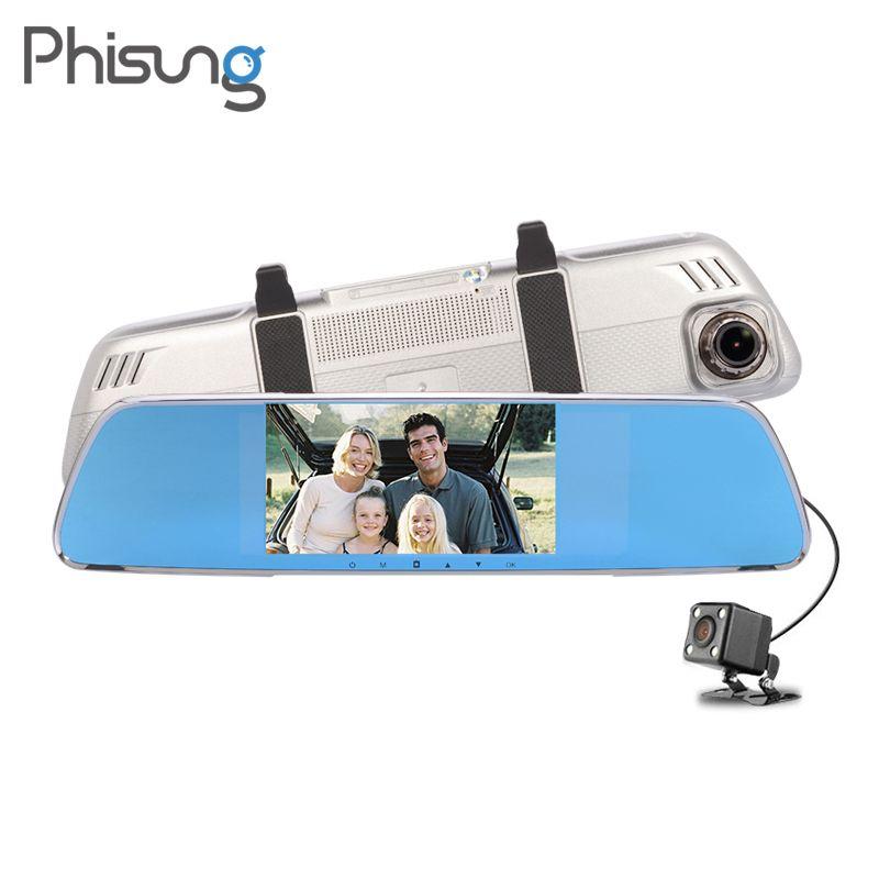 Phisung V25 Dual Camera lens Review Mirror Car DVRS FHD 1080P G-Sensor Motion Detect parking mirror car camera video recorder