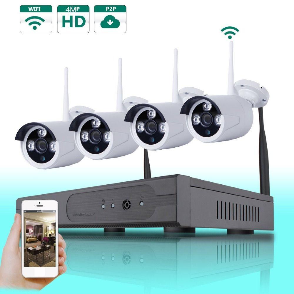 4CH 4MP WIFI SYSTEM Wireless 4MP NVR 4PCS 4MPMP IR Outdoor P2P Wifi IP CCTV Security Camera System Surveillance Kit