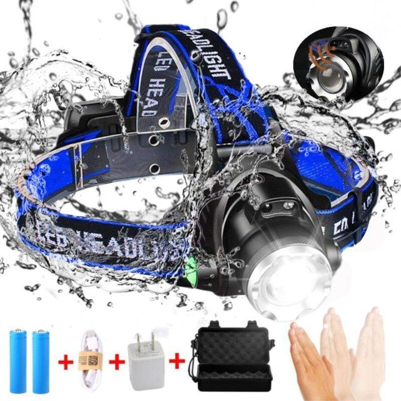 10000LM LED Headlamp T6/L2/V6 Zoomable Head lamp Flashlight Torch Headlight Lanterna With LED Body Motion Sensor for Camping