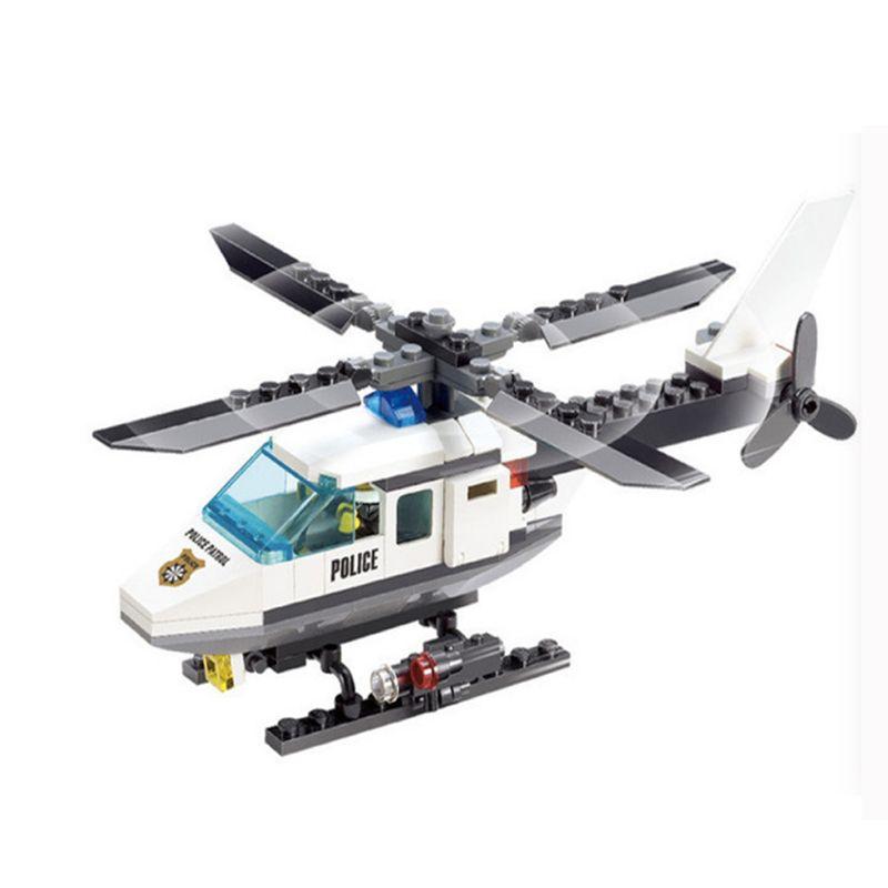 102 Unids City Police Series Bloques de Construcción legoings Helicóptero de La Policía Montan Bloques de Juguetes Educativos Bloques de Juguete de BRICOLAJE