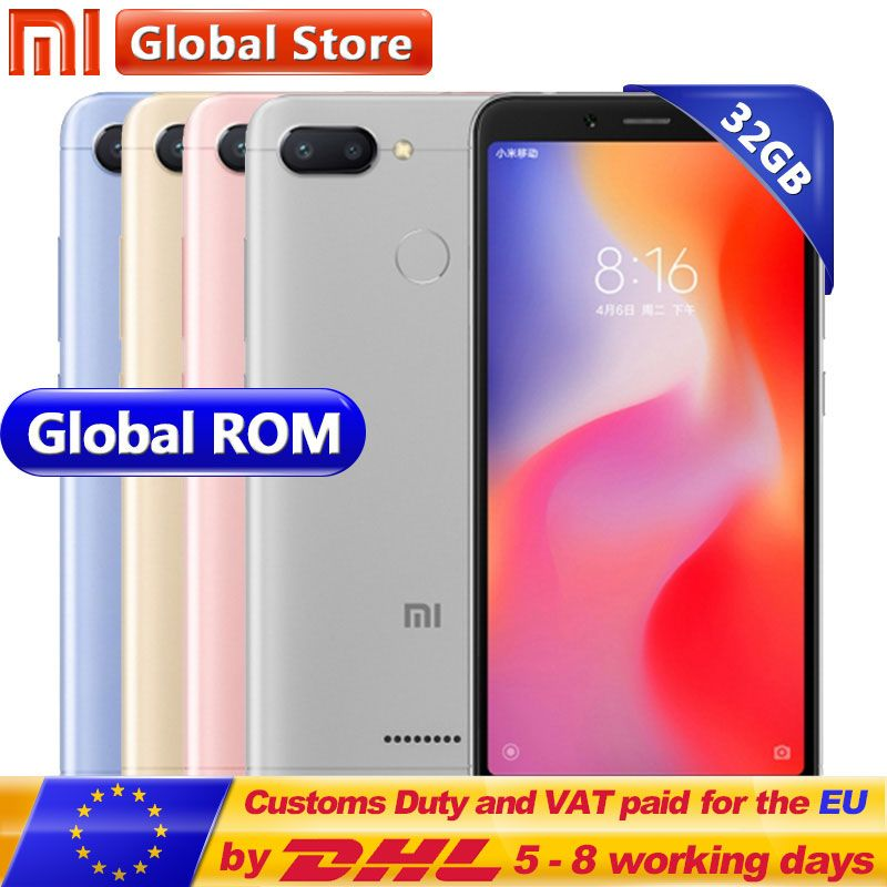 Original Xiaomi Redmi 6 3GB 32GB Helio P22 Octa Core Mobile Phone 5.45
