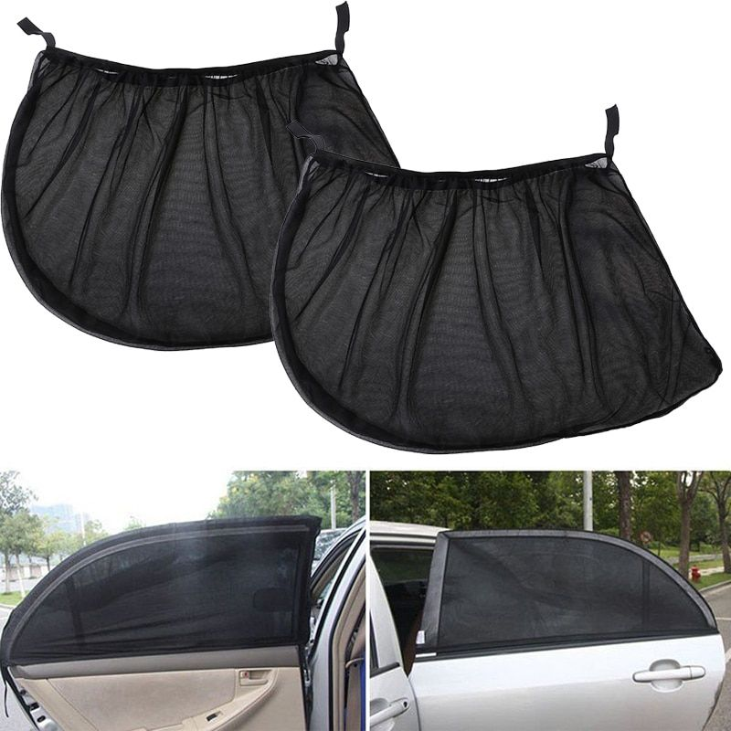 2Pcs Car Sun Visor Rear Side Window Sun Shade Mesh Fabric Sun Visor Shade Cover Shield UV Protector Black Auto Sunshade Curtain