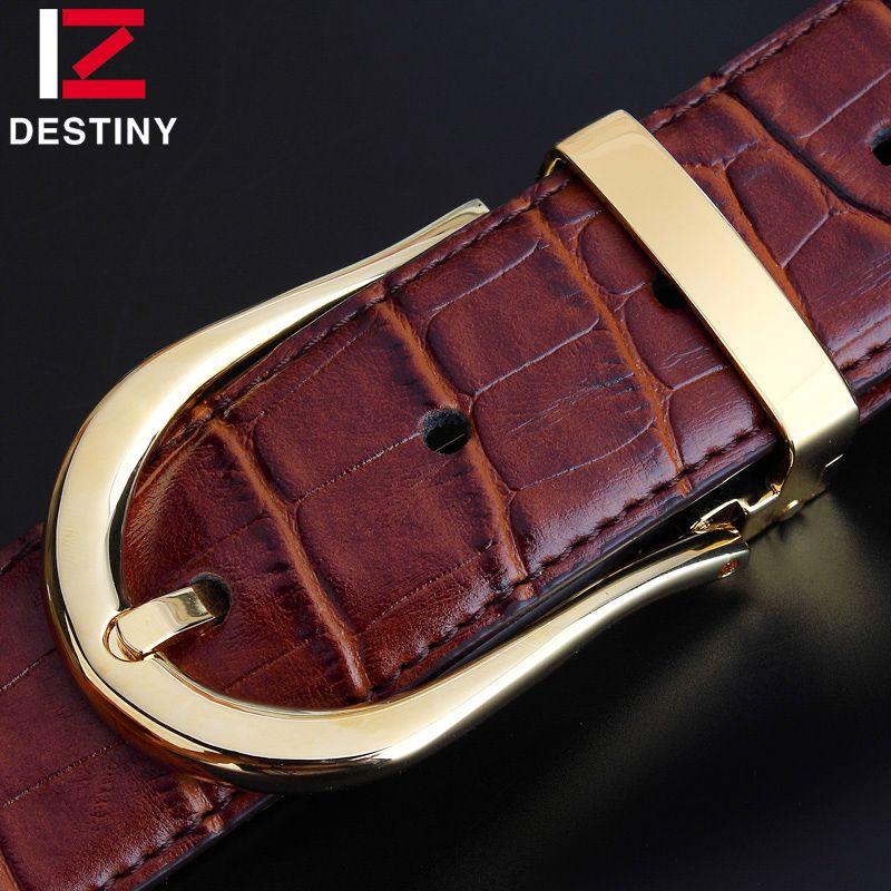 Destin Fashion Designer ceintures hommes de haute qualité en cuir véritable de luxe marque argent Ceinture or boucle fantaisie sangle mâle Ceinture
