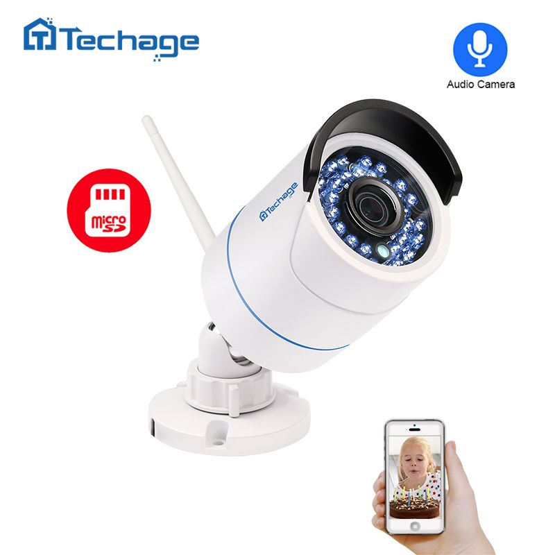 Techage 1080P WIFI IP Camera Indoor Outdoor Waterproof Network 2MP Audio Record Sound Wireless Camera P2P Onvif SD Card Slot Cam