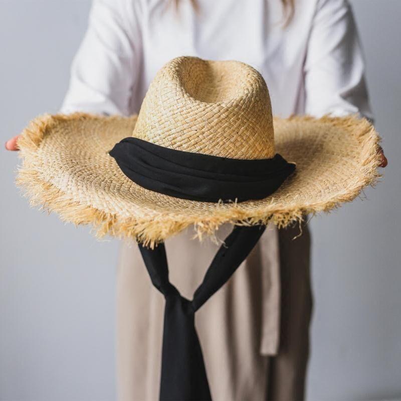 Handmade Weave 100%Raffia Sun Hats For Women Black <font><b>Ribbon</b></font> Lace Up Large Brim Straw Hat Outdoor Beach Summer Caps Chapeu Feminino