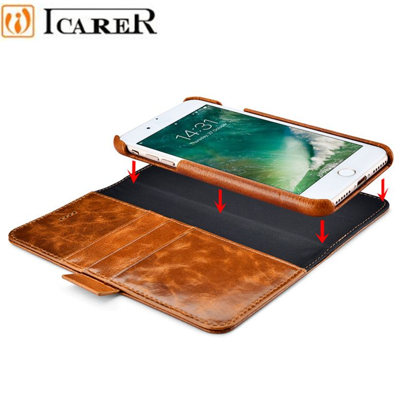 ICARER Oil Wax Genuine Leather Detachable 2 in 1 Wallet Folio Case for IPhone 7 7 Plus 6 6S Plus Magnetic Strap Flip Cover
