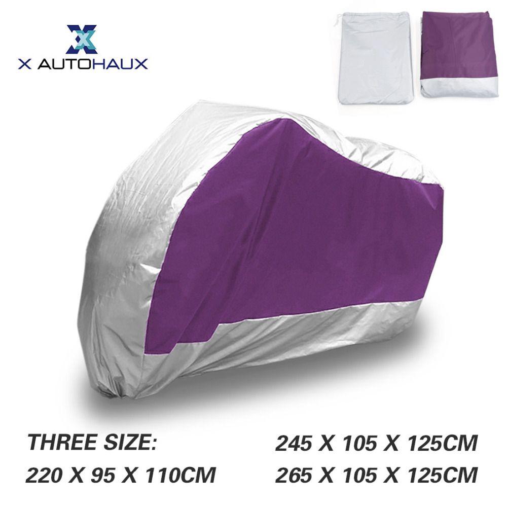 X autohaux 180 т полиэстер Тафта Ткань Дождь Пыль Двигатель Цикл крышка фиолетовый и серебряный открытый непромокаемые UV Protector Двигатель крышка