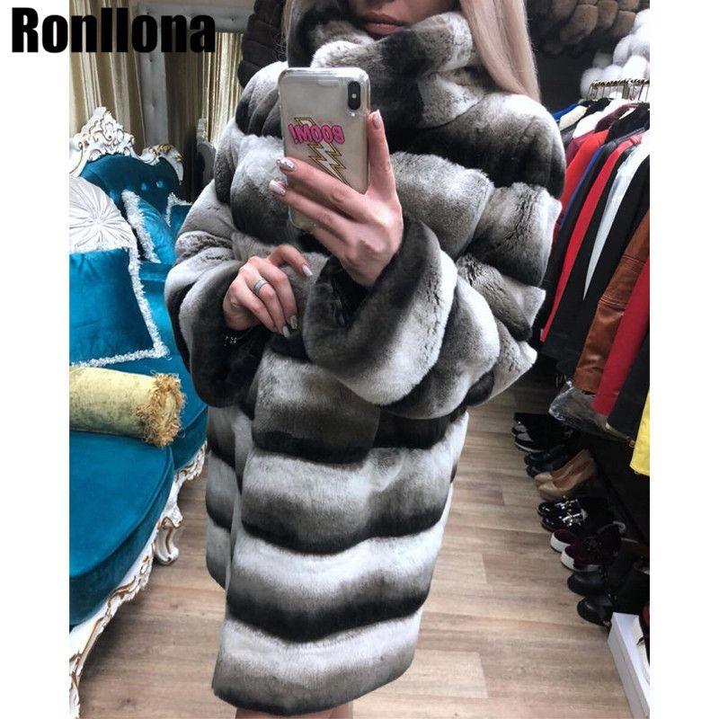 Neue Echt Chinchilla Rex Kaninchen Pelz Mantel 2018 Neue Luxus Warme Winter Frauen Natürliche Kaninchen Pelz Jacke Stehen Kragen Echte RB-039