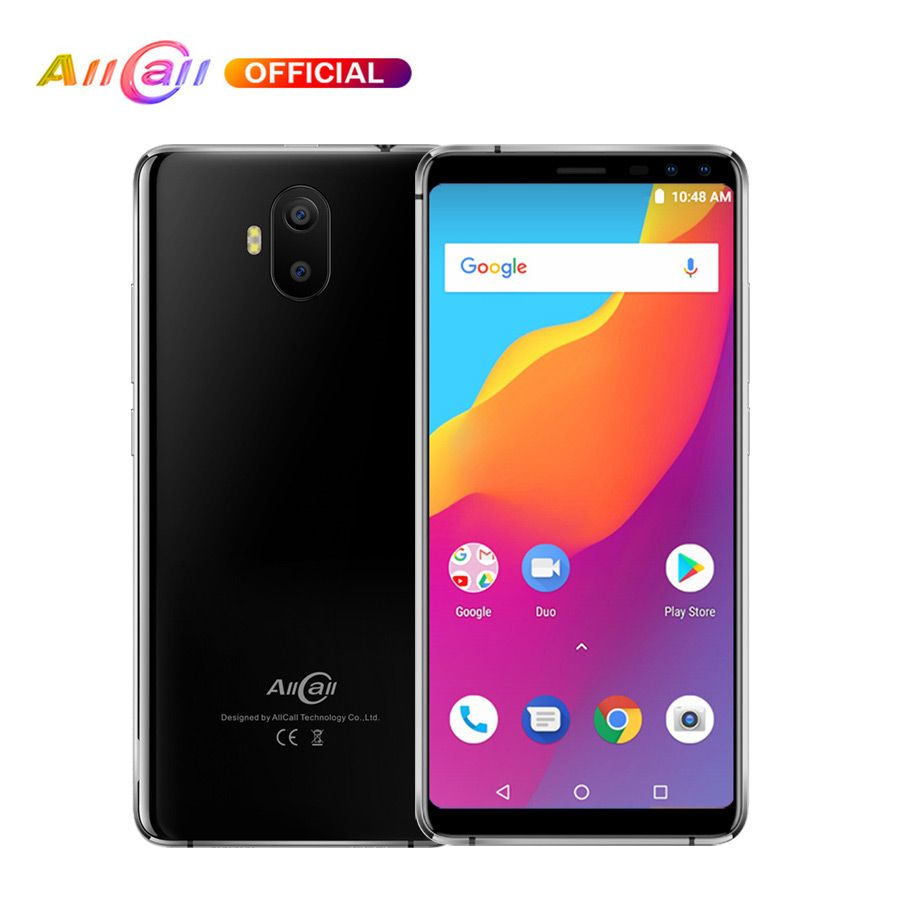 Original AllCall S1 5.5 18:9 5000mAh Battery Android 8.1 MTK6580A Quad Core 2GB RAM 16GB ROM 8MP+2MP Cameras Smartphone