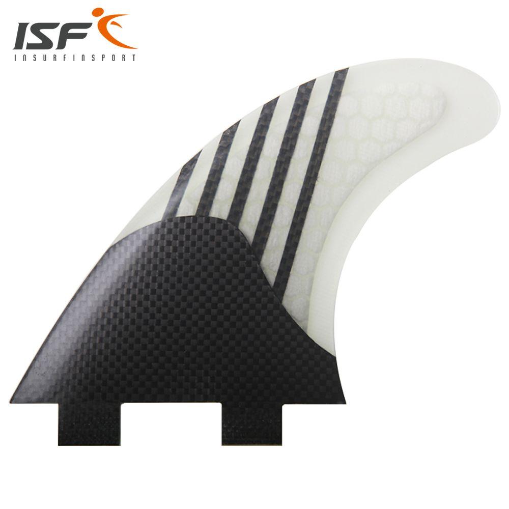 Insurfin Carbonfiber Surfboard Fins Thruster Fin Set (3) FCS Compatible Medium Surf Fin
