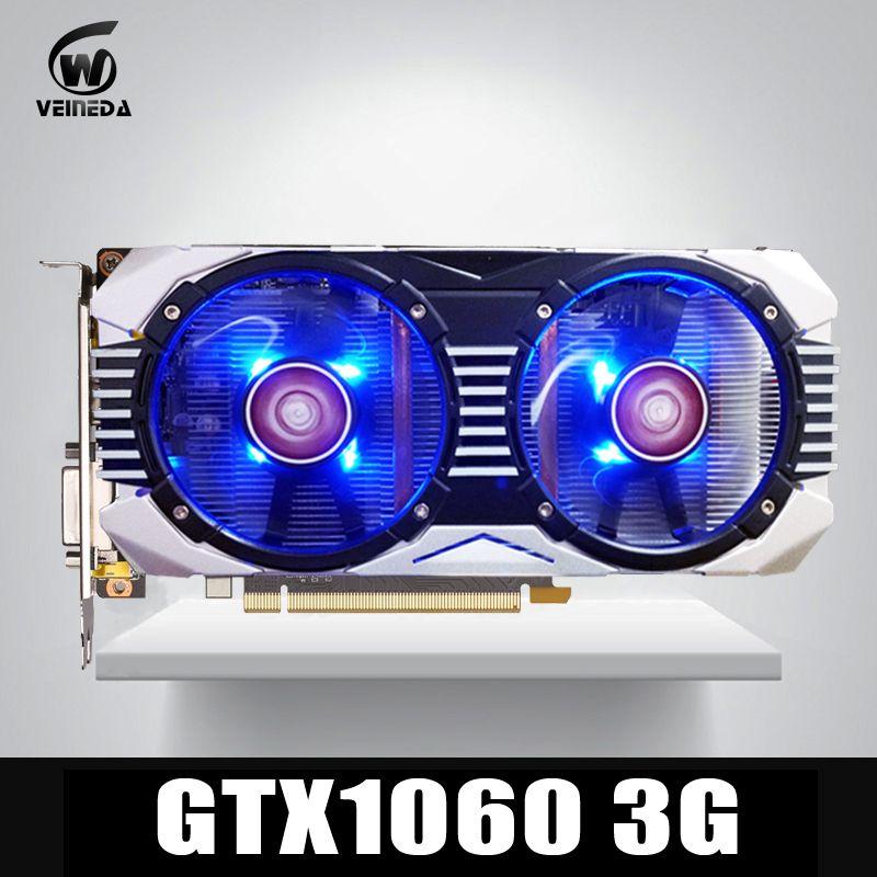 VEINEDA Grafikkarte GTX 1060 3 GB 192Bit GDDR5 GPU Video Karte PCI-E 3,0 Für nVIDIA Gefore Serie Spiele Stärker als GTX 1050Ti