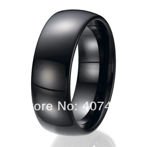 Free Shipping USA UK Canada Russia Brazil Hot Sales 8MM Black Domed Bridal Ring His /Her Men's Tungsten Carbide Wedding Ring