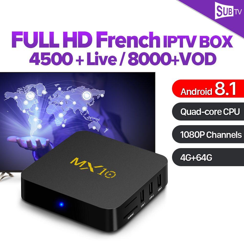 MX10 IPTV France Arabic RK3328 USB3.0 Android 8.1 TV Box 4GB 64GB SUBTV IPTV Spain Canada Italy French Belgium Netherlands IP TV