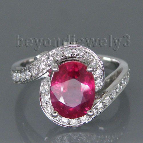 Vintage Oval 8x10mm Fester 14Kt Weißes Gold Natürliche Roter Rubin Ring, 585 weiß Gold Rubin Diamant Schmuck WU106