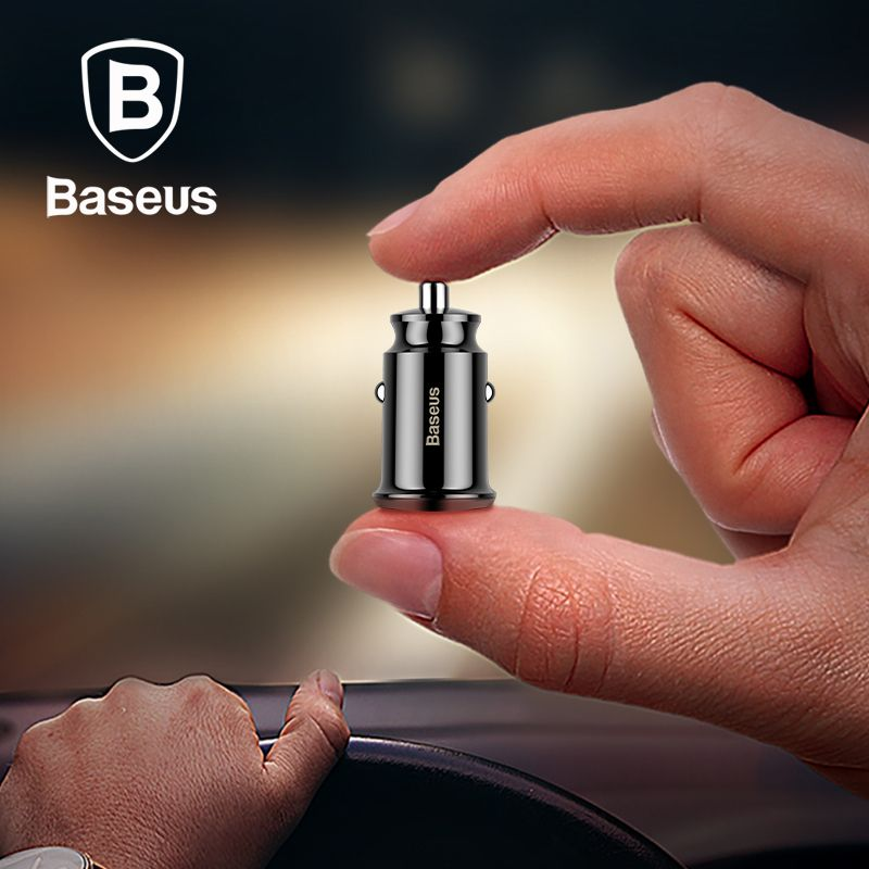 BASEUS Mini Car Charger Dual USB 3.1A Fast Dual Ports Car Chargers Smart Small Car Charging for iPhone iPad Samsung etc.