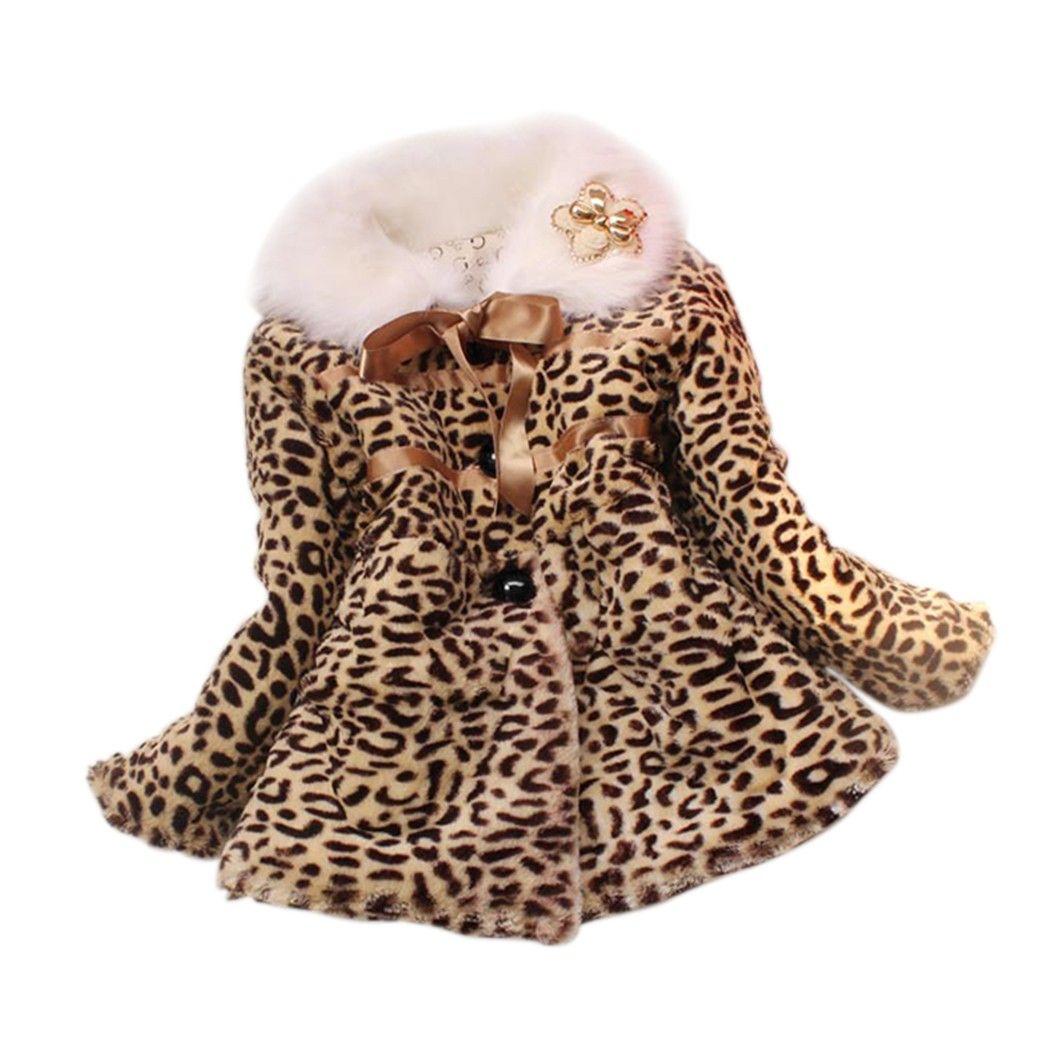 Nouveau décontracté bébé enfants filles léopard fausse fourrure polaire doublé manteau hiver chaud veste col rabattu à manches longues vêtements