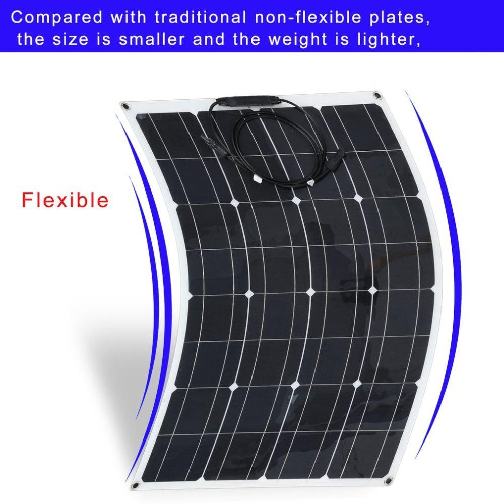 New 80W Waterproof Portable Monocrystalline Flexible Solar Panel Module Outdoor Solar Power System For Off Grid RV Boat