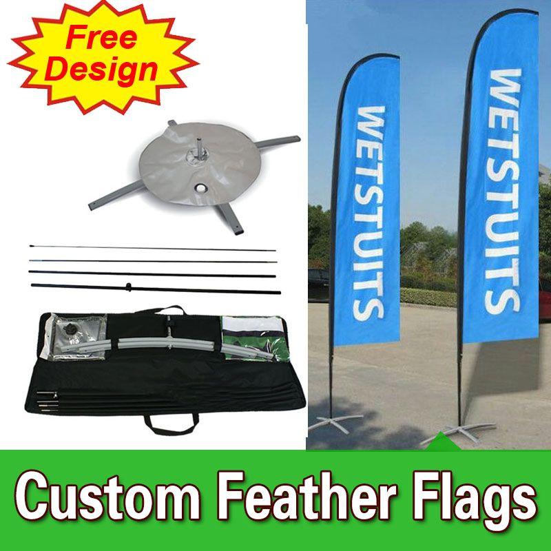 Free Design Kostenloser Versand Doppelseitige Quer Basis Feder Konkurrenzfähiger Aufstehen Fahnen Segel Zeichen Banner Swooper Federfahnen