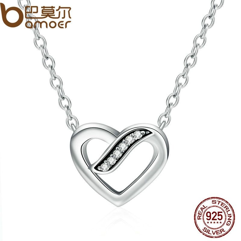 BAMOER 100% Authentic 925 Sterling Silver Ribbons Of Love, Clear CZ Pendants Necklace for Women Fine Jewelry PSN016