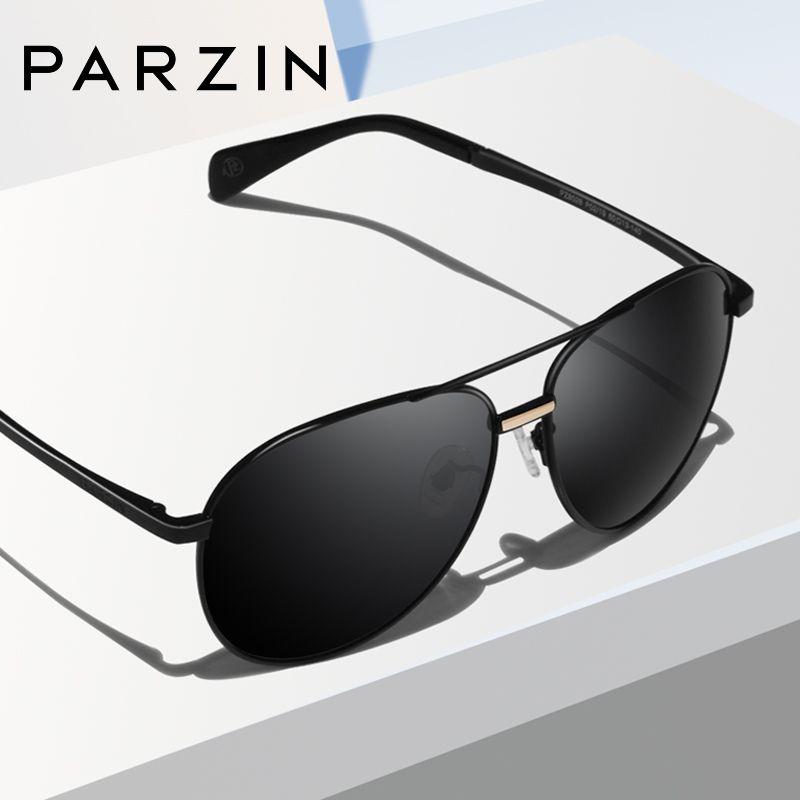 PARZIN Polarzied lunettes de soleil hommes femmes marque Designer unisexe pilote lunettes de soleil alliage cadre miroir lentille conduite mâle lunettes de soleil