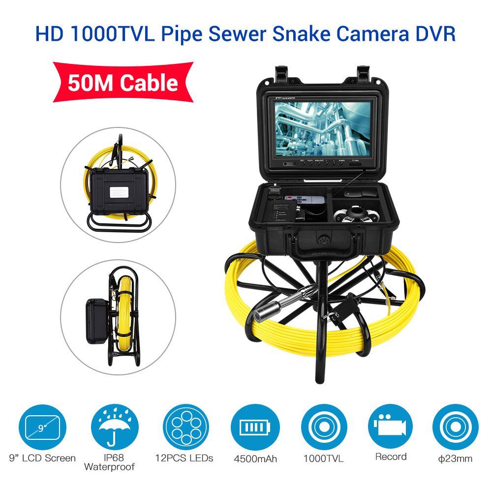 Eyoyo 9 zoll LCD Monitor 1000TVL 50 mt 23mm Rohr Inspektion Video Kamera, ablauf Kanalisation Pipeline Industrie Endoskop Inspektor