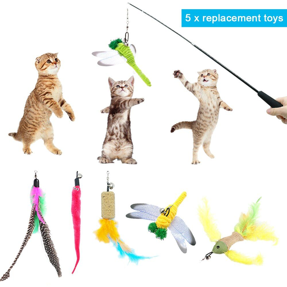 Lustige Interaktive Katze Zauberstäbe Spielzeug Pet Fisch Feder Spielzeug Für Katzen Kätzchen 1 stücke Flexiblen Wand & 5 stücke Plume ersatz Set
