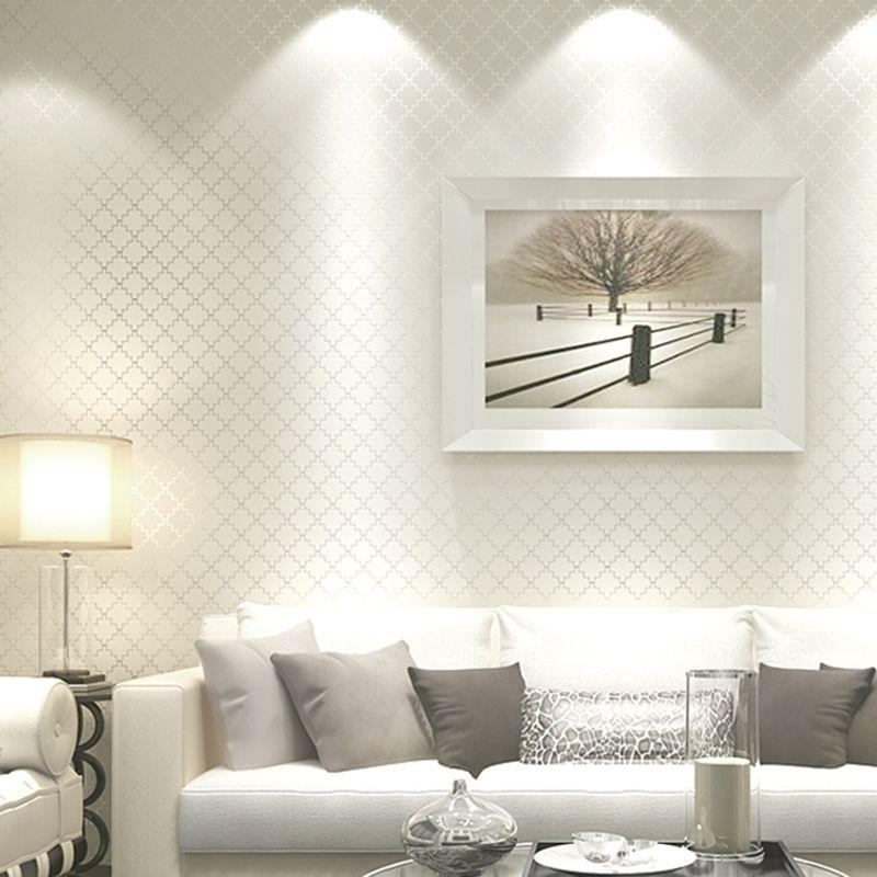 Нетканые Ткань решетки полоса Бумага белая пена тиснением покрытия стен Бумага roll Задний план стены Гостиная Спальня
