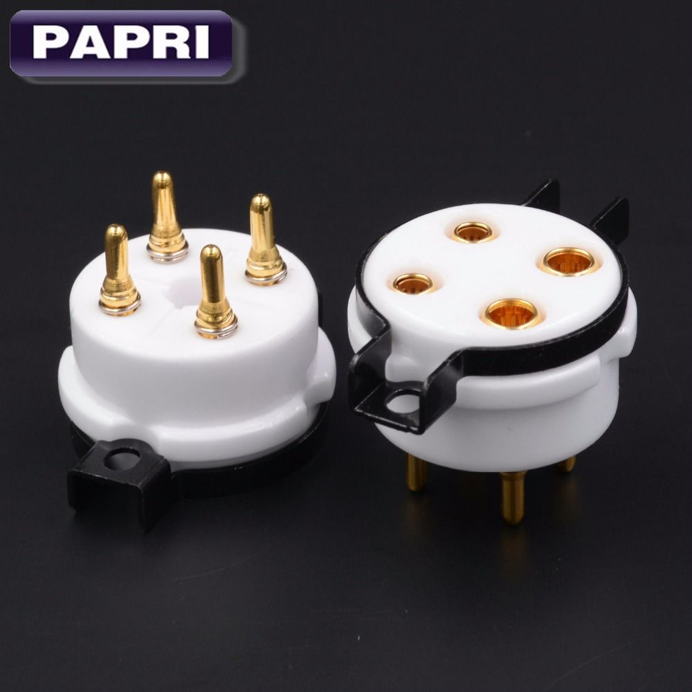 100% marke Neue Hohe Qualität U4A Gold Überzogene 4pin Keramik Rohr Buchse Audio Teile Für 300B 2A3 5Z3 5U4G Etc vakuum Rohr Lot/2 stücke