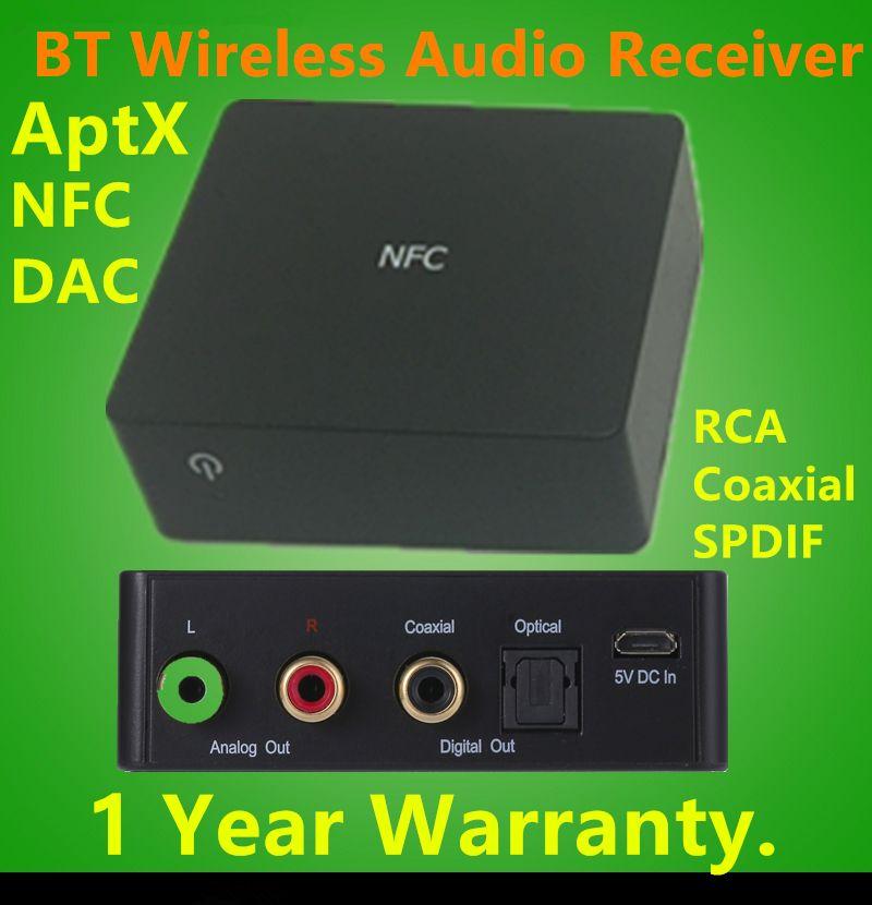 JEDX BT001 CSR Digital Wireless Audio Receiver, Bluetooth Empfänger AptX CD Klangqualität withDAC, NFC, und RCA, koaxialkabel, spdif-ausgang