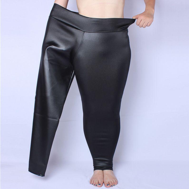 [GUTU] 2017 Autumn Fashion Hot  Black Matte High Waist Imitate Leather Pants Woman, 5 sizes YD9301XL