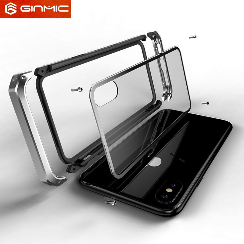 For Apple iphone X Case Clear Tempered Glass Hard Plastics Metal Hybrid Phone <font><b>Protective</b></font> for iphonex 10 Shockproof Cover Luxury