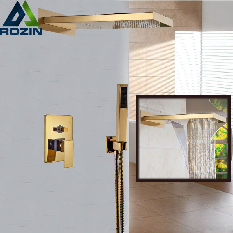 Wall Mount Single Handle Waterfall Rain Shower Faucet Mixe Tap with Handheld Shower Golden Color