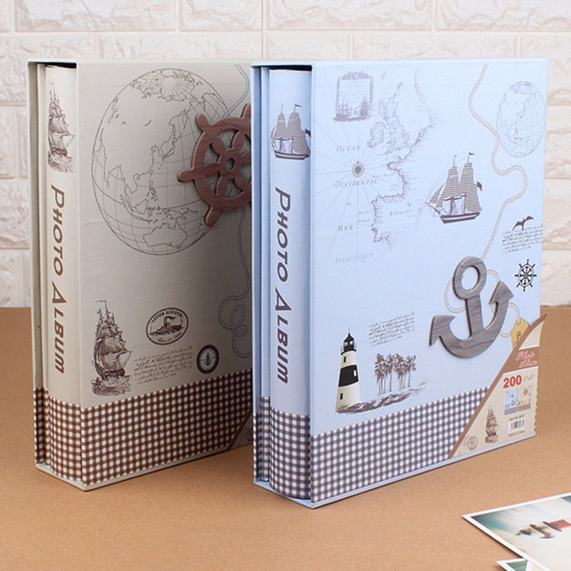 Free shipping Large boxed photo album 6 inch high-capacity 200 sheets Vintage family photo albums grow scrapbooking album