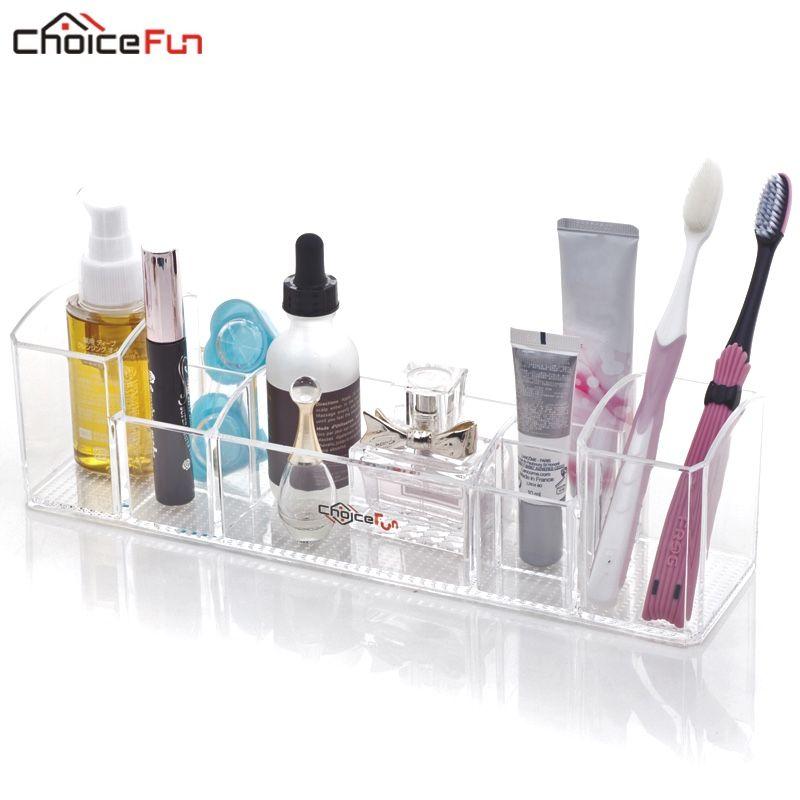 CHOICEFUN multi-fonctionnel acrylique clair comptoir toilette plateau brosse à dents et cosmétique rangement salle de bain organisateur pour le maquillage