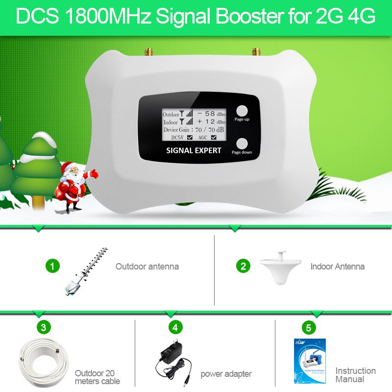 2018 New fashion signal repeater 2G DCS1800MHZ mobile signal booster 4g cellular signal amplifier Yagi + ceiling antenna kit