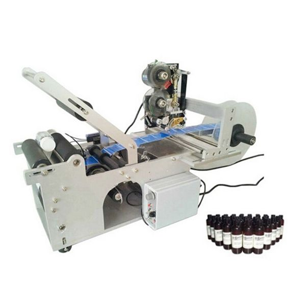 Best price small round glass bottles labeling machine with date code printing machine
