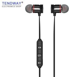 Tendway Magnetic Bluetooth Earphones Sport Metal Running Bluetooth Earphone Stereoscopic Bass Headsets Hands Free With Mic