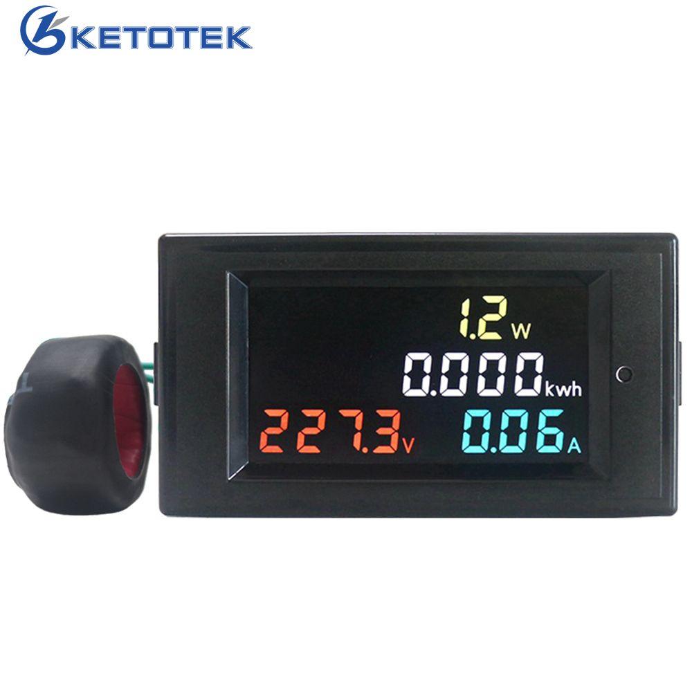 4 dans 1 AC Voltmètre Ampèremètre Power Energy Meter AC 80.0-300.0 v/AC200.0-450.0 V 0.01-100AHD écran couleur 180 Degrés Impeccable LED
